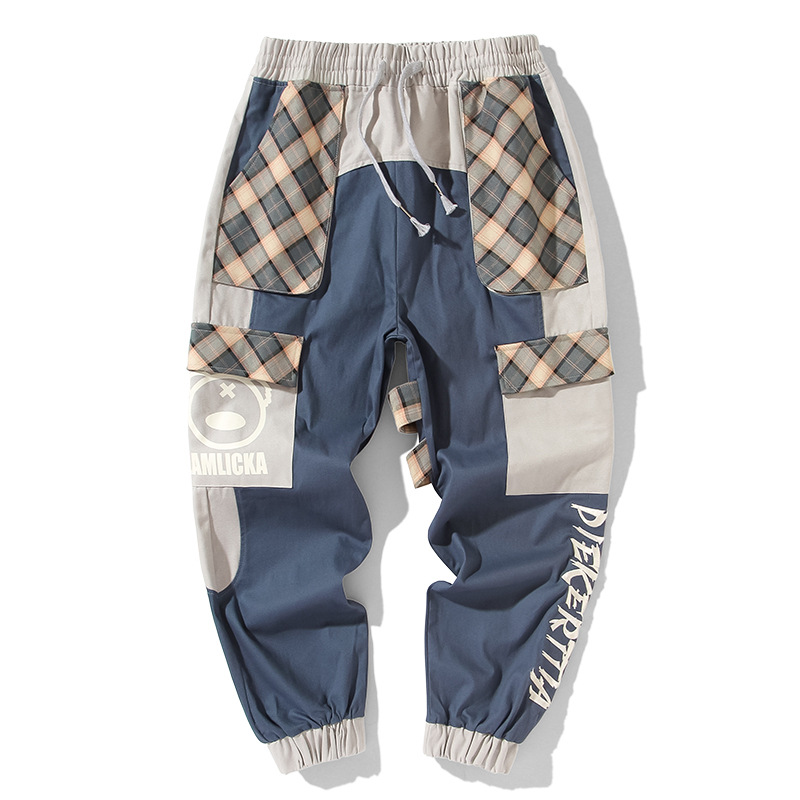 Summer new fashion brand stitching color contrast check panda print mens small foot casual Harem Pants loose overalls