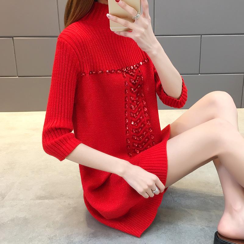 春秋新款亮丝中长款半高领针织衫女短袖宽松大码半袖七分打底毛衣