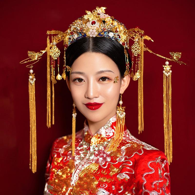 新娘中式头饰霸气古风宫廷皇冠大凤冠霞帔古装秀禾装婚礼饰品