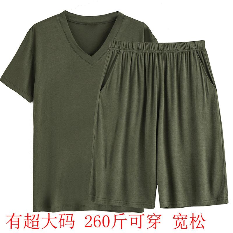 夏季男超肥加大码宽松短袖五分裤休闲居家运动套装薄款莫代尔爸爸