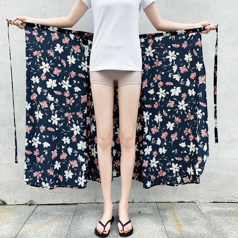 一片式半身裙2019夏季高腰系带雪纺长裙碎花中长款海边度假沙滩裙