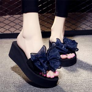 领3元券购买夏季凉拖鞋女外穿高跟一字拖蝴蝶结防滑坡跟厚底海边度假沙滩鞋