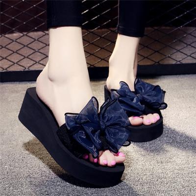 夏季凉拖鞋女外穿高跟一字拖蝴蝶结防滑坡跟厚底海边度假沙滩鞋
