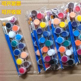 小丙烯颜料条环保幼儿园儿童防水12色套装diy石头画密封小盒装3ml