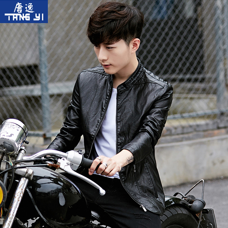 2020 new autumn leather men's Korean version of the slim trend jacket short youth locomotive service spring and autumn jacket