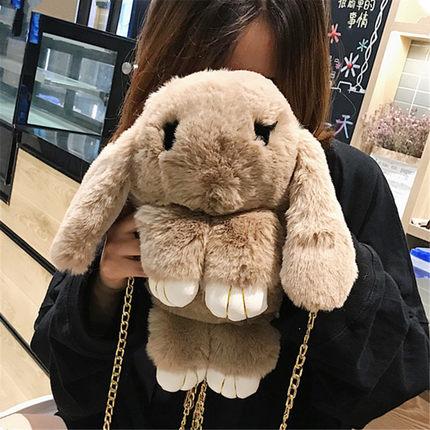 ins超火兔子包 赠运费险  仿獭兔毛装死兔单肩斜挎包毛绒兔兔包