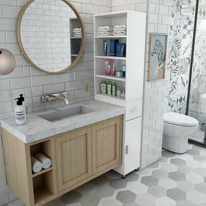 卫生间角柜转角柜客厅浴室洗手台边柜 脸盆置物架缝隙窄柜可订做