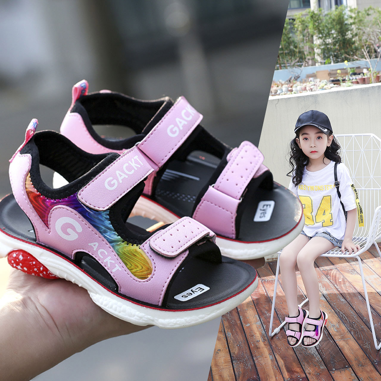 女童凉鞋夏季2019新款儿童凉鞋时尚中大童韩版宝宝小孩男童凉鞋子