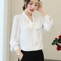 白色衬衫女夏款女人宽松灯笼袖女土中袖白衬衣立领七分袖棉麻上衣