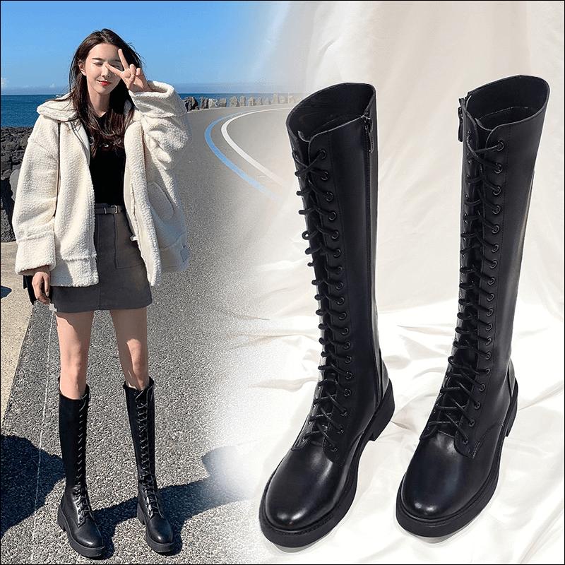 艾斯臣不过膝长筒靴女春秋马丁靴子系带高筒长靴小个子显瘦骑士靴
