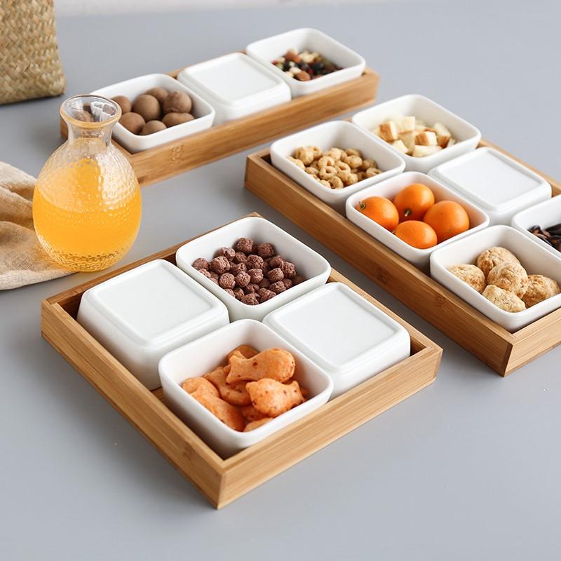 盒子小号茶盘客厅创意零食木制实木瓜子陶瓷茶具方碟干果盘竹木