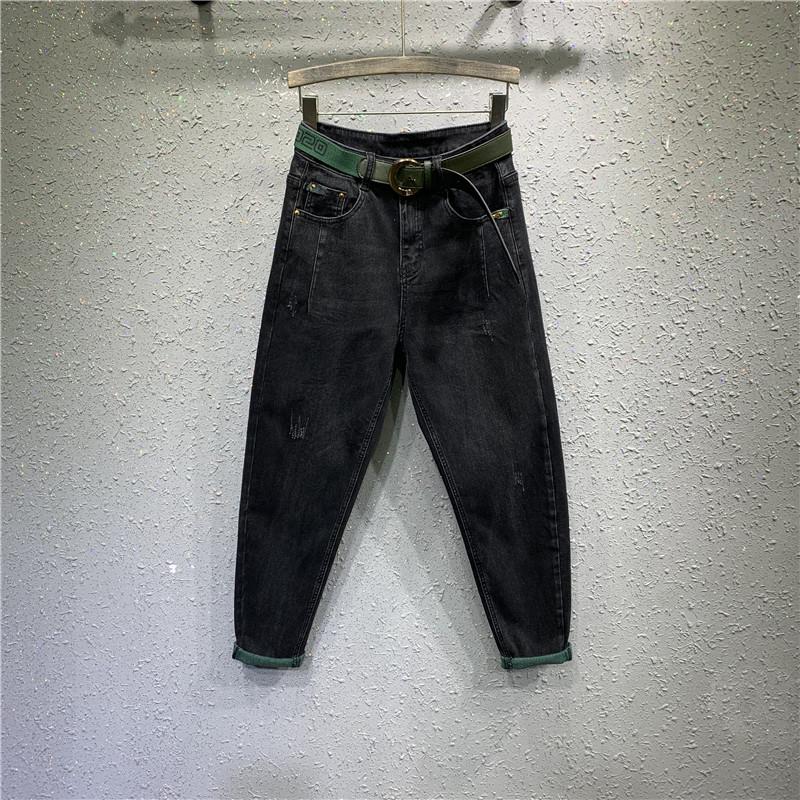 女长裤2019秋季新款高腰宽松牛仔裤