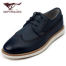 Seven Wolf Men's Shoes Spring 2017 Korean Version Business Leisure Shoes Soft Cowskin Block Shoes Light Fashion Driving Shoes