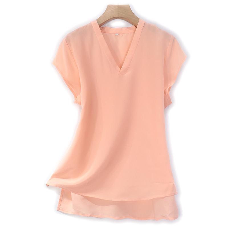 真丝桑蚕丝女装特色简约短袖V领T恤上衣英伦宽松纯色休闲浅橘粉色