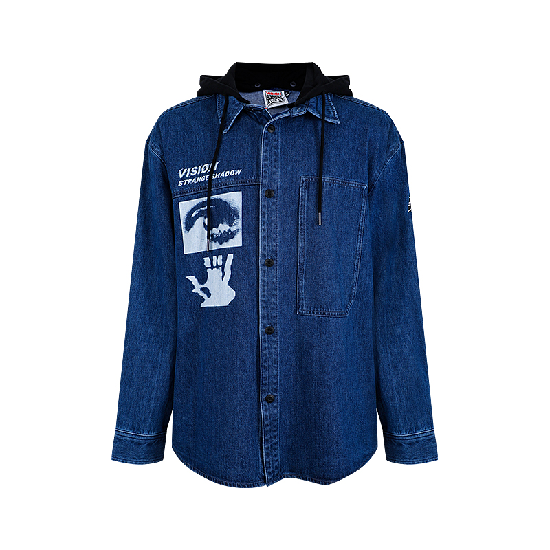VISION STREET WEAR银泰专柜2020夏新款男女款牛仔衬衫V203NG6002