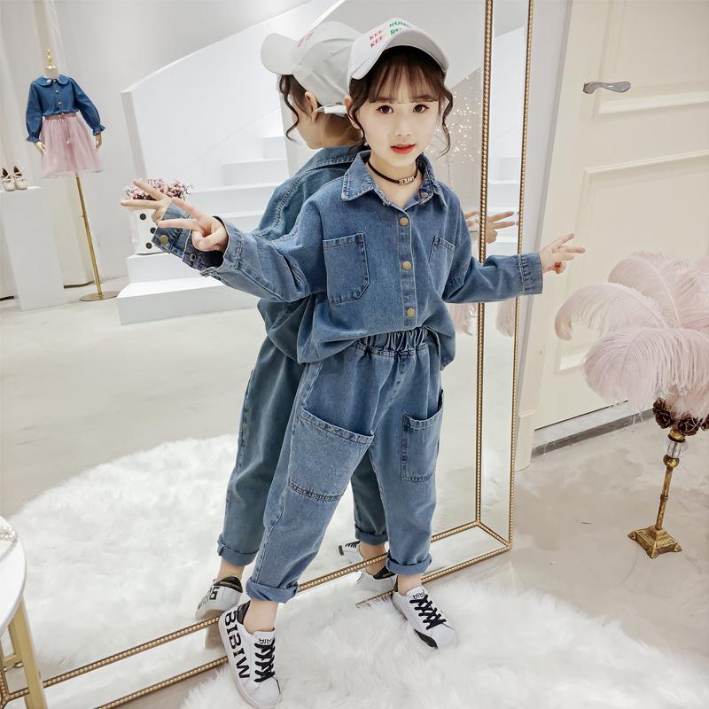 女童牛仔套装春秋2019新款中大童韩版洋气牛仔外套女孩时尚两件套