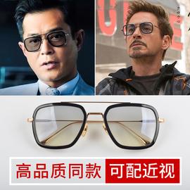 钢铁侠小罗伯特唐尼同款太阳眼镜男潮偏光近视墨镜男款方框浅色镜