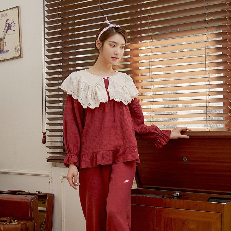 红色春秋长袖复古宫廷纯棉纱布娃娃领红色睡衣蕾丝花边公主家居服