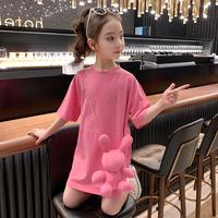 查看女童夏装连衣裙2021新款洋气童装儿童短袖裙子夏季女孩长款T恤裙价格