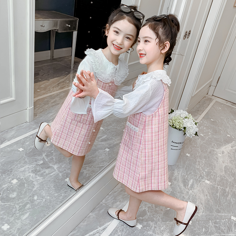 Girl's little fragrant dress spring dress 2020 new style children's dress princess skirt little girl children's skirt set