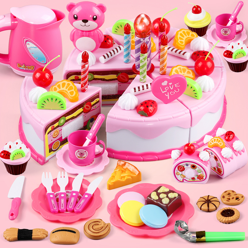 Ребенок живая домой домой торт игрушка кухня вырезать фрукты и овощи музыка девушка день рождения подарок установите