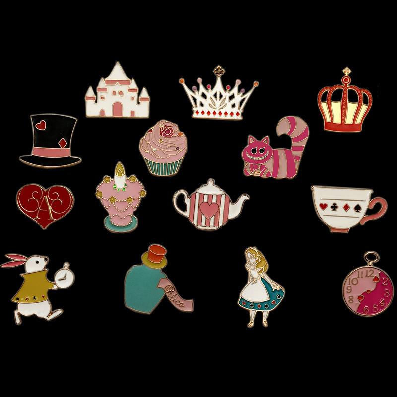 童话故事 卡通动漫爱丽丝梦游仙境系列滴油胸针领针 服饰配饰徽章