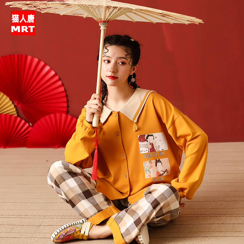 Cat man Tang pajamas women spring and autumn winter cotton long sleeve Korean version sweet can wear home clothes cotton two piece suit