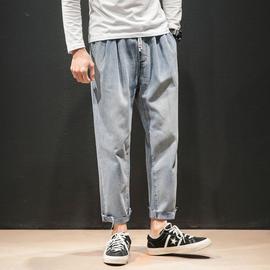 秋季休闲纯色做旧九分牛仔裤男士加肥大码宽松运动直筒裤韩版潮流