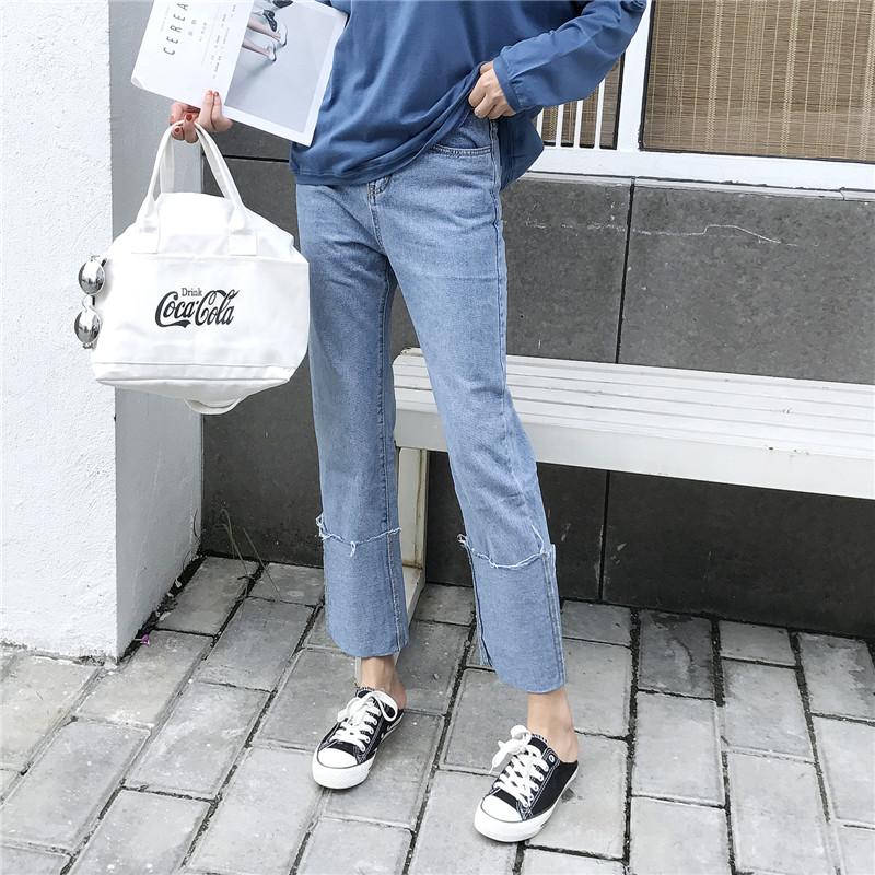 (现货)8004【模特实拍】春夏翻边高腰显瘦直筒水洗纯棉 女牛仔裤