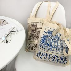 (现货)7501【模特实拍】韩版随意慵懒莎士比亚书店印花帆布包包