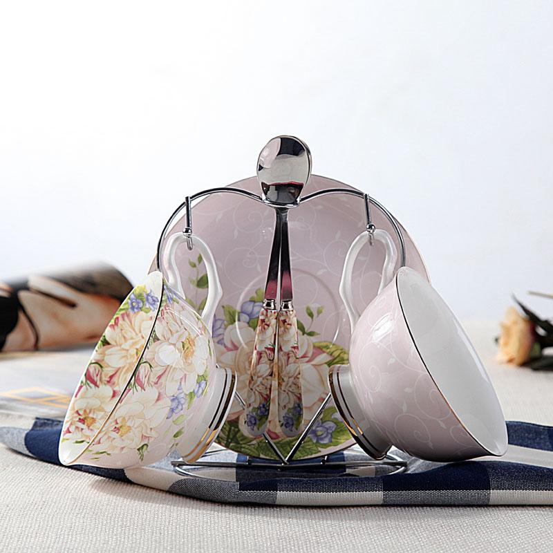 咖啡具套裝歐式英式骨瓷咖啡杯 陶瓷茶具套裝花茶杯送架子