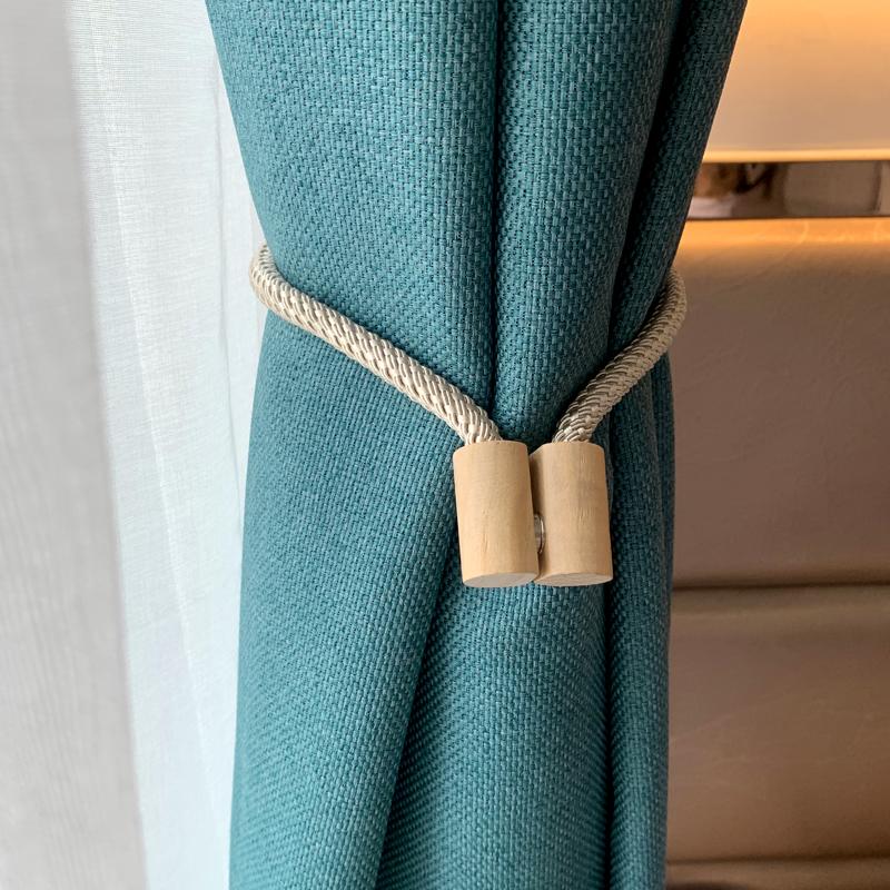 窗帘绑带一对装磁铁固定器扎束带原木磁吸窗帘扣2021年新款磁铁扣