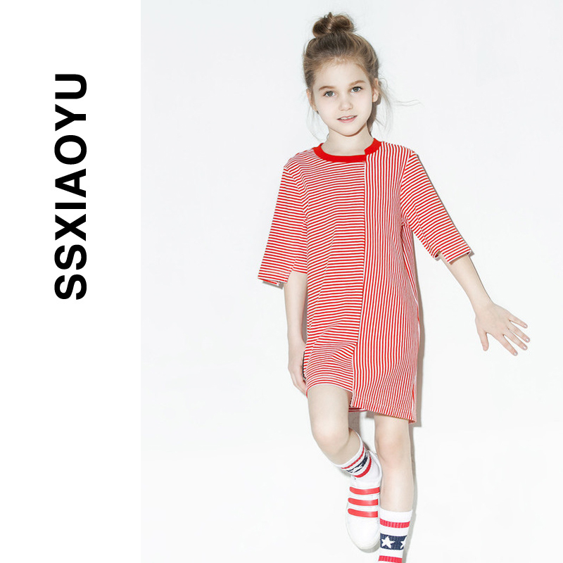 [1 50% off] Girls' skirt 2020 new spring and summer children's wear stripe dislocation super foreign style dress short sleeve trend