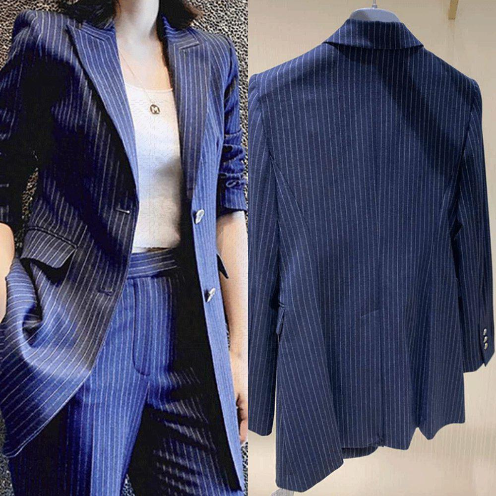 海外代購新2020秋装西服休闲条纹西装外套女韩版英伦风上衣潮常规