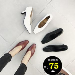 推荐2019春季新款韩版复古小方头V口细跟中跟高跟单鞋女鞋