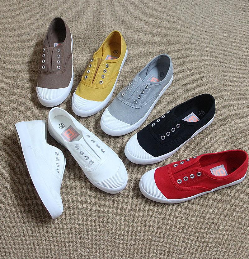 秋季女士布鞋韩版贝壳头单鞋一脚蹬懒人鞋平底休闲学生帆布鞋新款