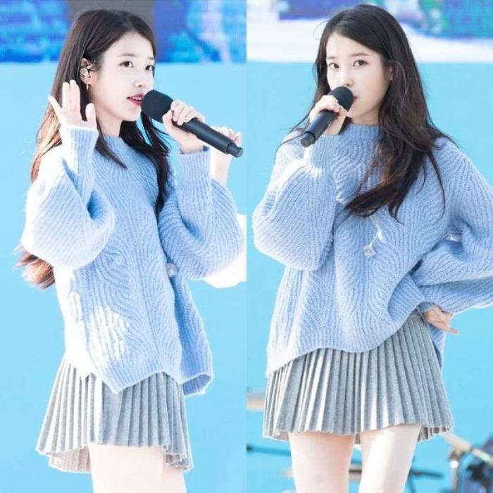新款李知恩明星同款蓝色宽松毛衣后开叉套头针织衫毛呢裙女套装