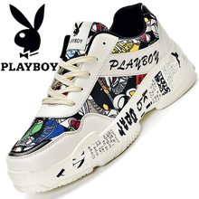 Playboy Men's Shoes Summer Sports and Leisure Shoes Air-permeable Korean Version Fashion Painted Graffiti Ins Daddy Shoes Men