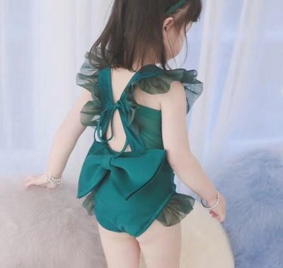 儿童泳衣女孩亲子性感露背装小中大童韩国女童连体游泳衣发带套装