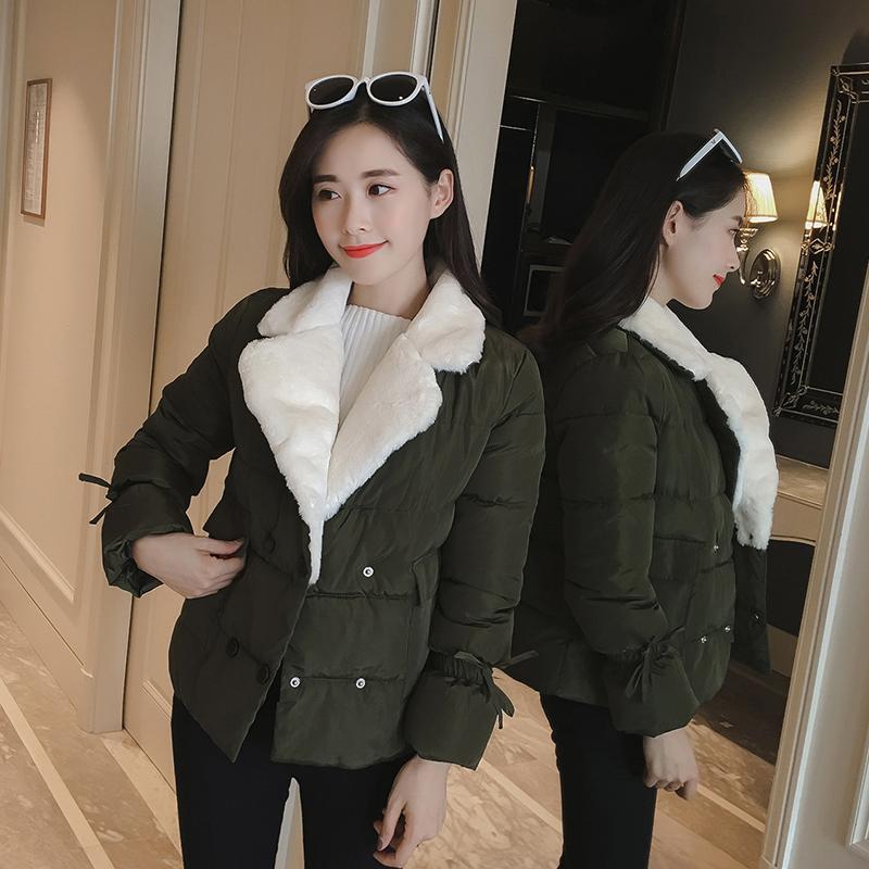 В обратных сезон хлопок женские короткие самолет пакет одежда ватник осенью и зимой длинный рукав толстая внешняя крышка корейский значительно тоньше студент подбитый