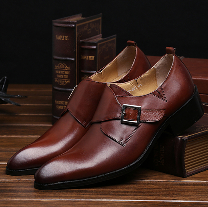2015 New Fashion genuine leather mens shoes business dress pointed buckle leather shoes mens heightening leather shoes wedding shoes