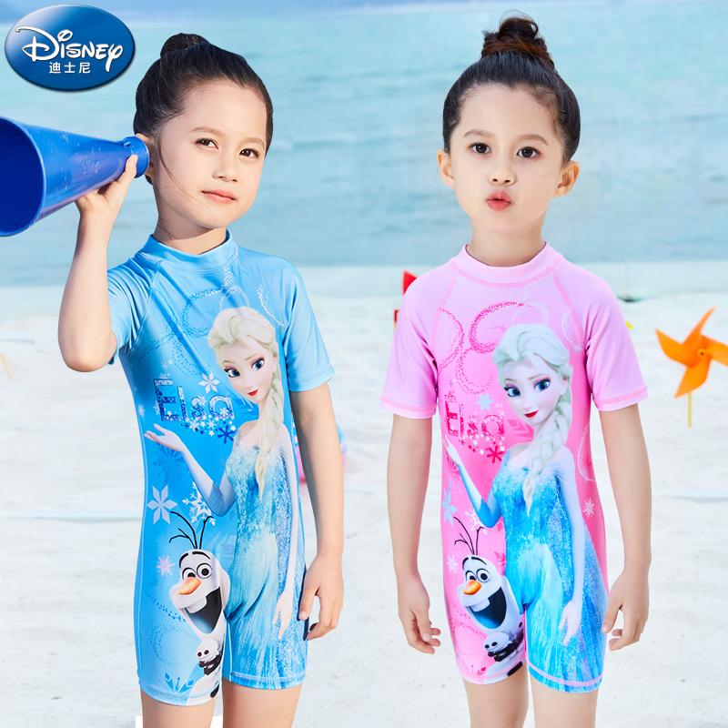 迪士尼儿童泳衣女女童连体小童中大童游泳衣宝宝公主可爱温泉泳装 thumbnail