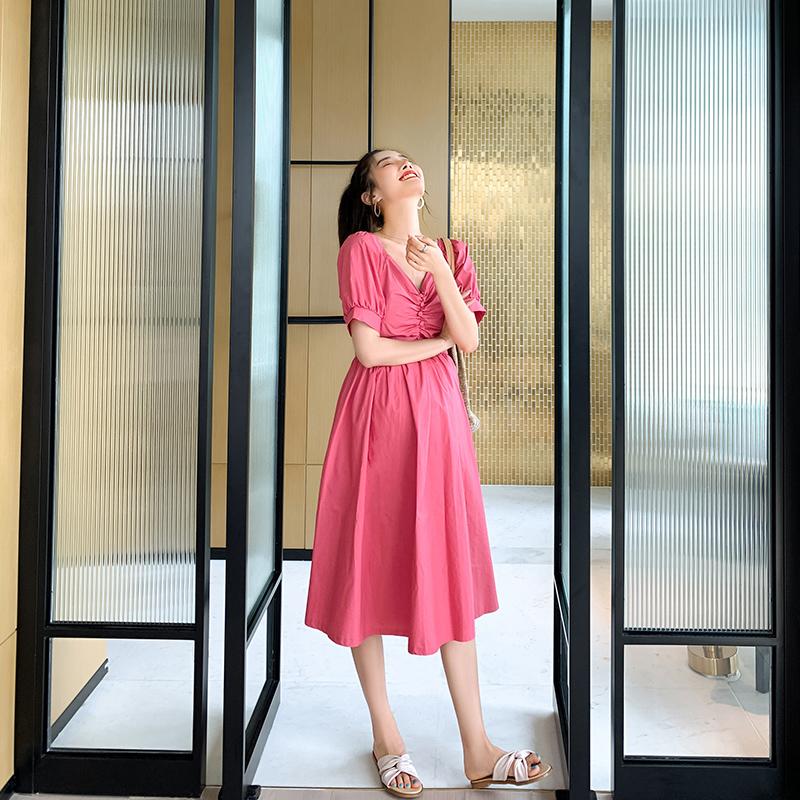 孕妇夏装短袖连衣裙孕妈小清新网红洋气时尚潮辣妈个性夏天裙子