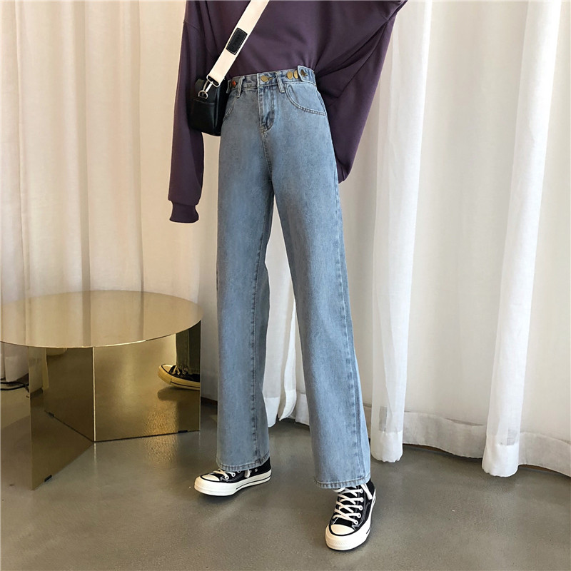 Work clothes jeans female loose BF straight tube student boy friend big leg wide leg super fire CEC pants Lin Xiaozhai