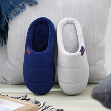 Cotton slippers men's home thick-soled winter home indoor non-slip warm couple home fur slippers female winter bag with