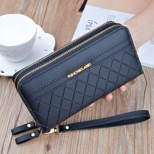 女士手拿钱包女长款 简约大容量双拉链双层手抓包妈妈包可放手机