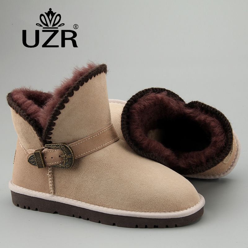 Winter new sheepskin wool integrated snow boots womens short tube thickened warm short boots womens waterproof and anti-skid cotton boots