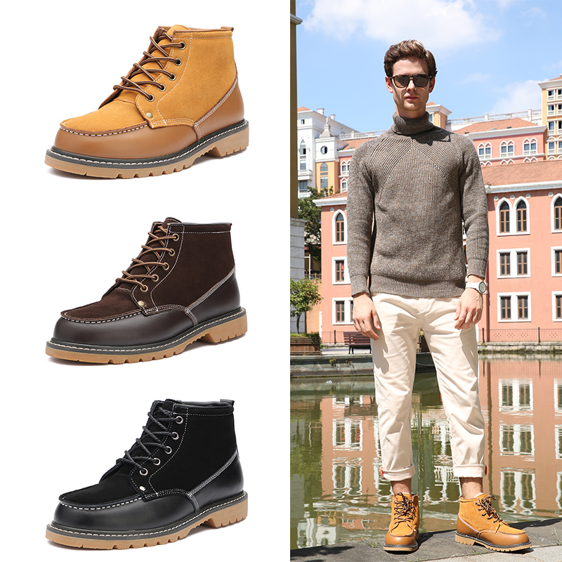 Winter Snow Boots Mens Plush thickened short tube mens boots leather low top mens shoes short boots warm and non slip cotton shoes