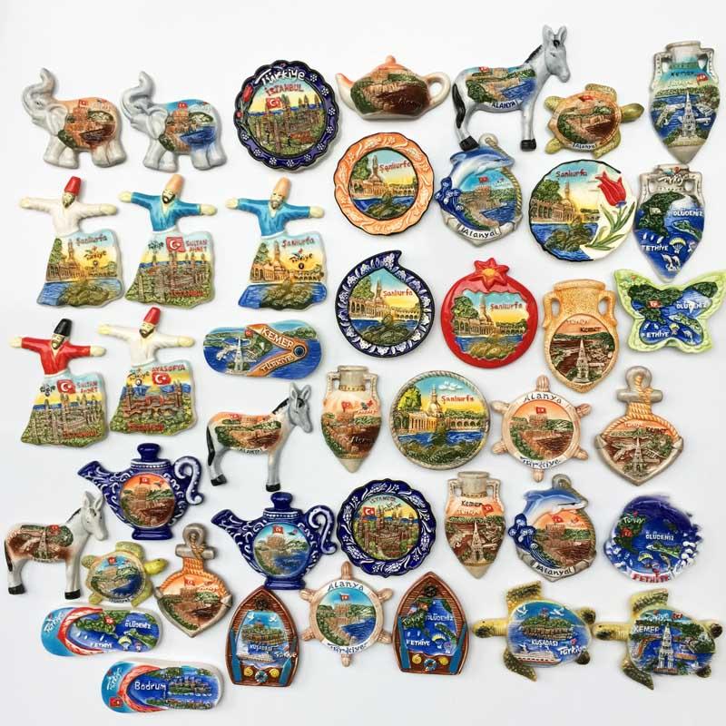 土耳其各地网红景点旅游纪念品 陶瓷彩釉工艺品磁力冰箱贴伴手礼