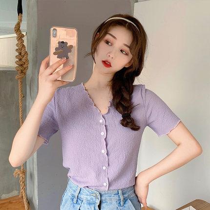 夏新款洋气雪纺简约小清新v领紫色木耳边褶皱短袖修身显瘦上衣女
